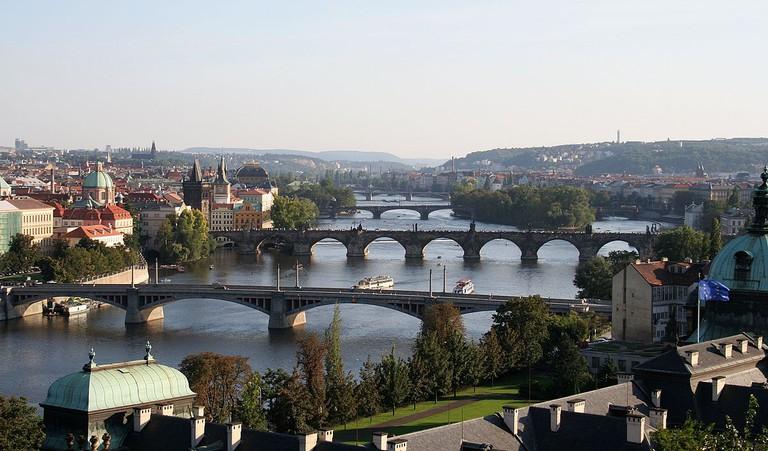 Bridges over the River Vltava, as seen from Letná park