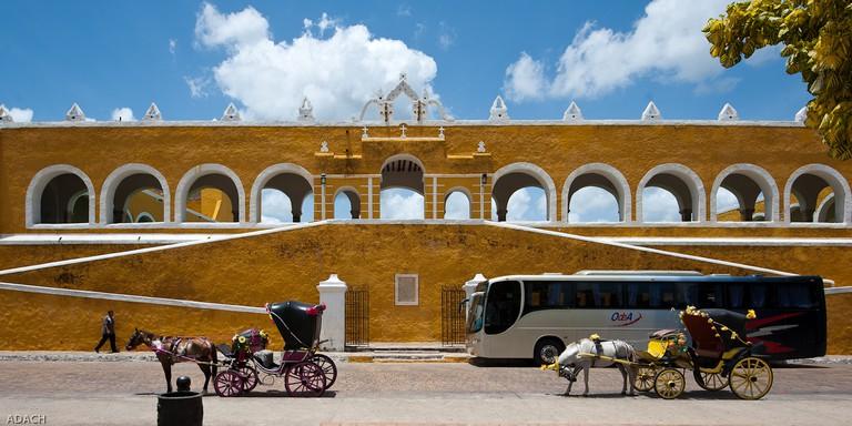 Bright yellow buildings in Izamal, Mexico