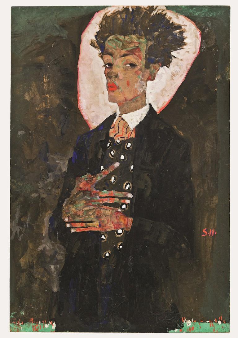 Egon Schiele Self-Portrait with Peacock Waistcoat, 1911 Ernst Ploil, Vienna