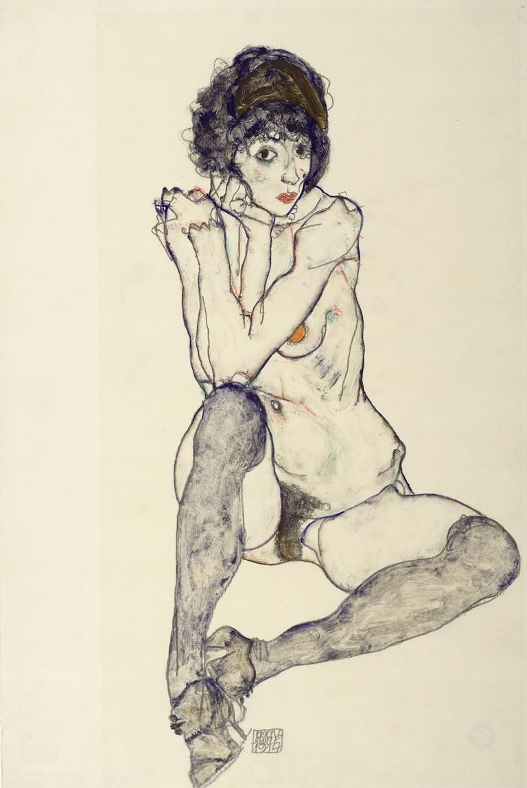 Egon Schiele Seated Female Nude, Elbows Resting on Right Knee, 1914 Albertina Vienna