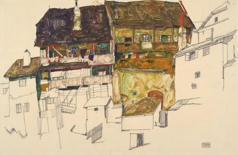Egon Schiele Old Houses in Krumau, 1914 Albertina, Vienna