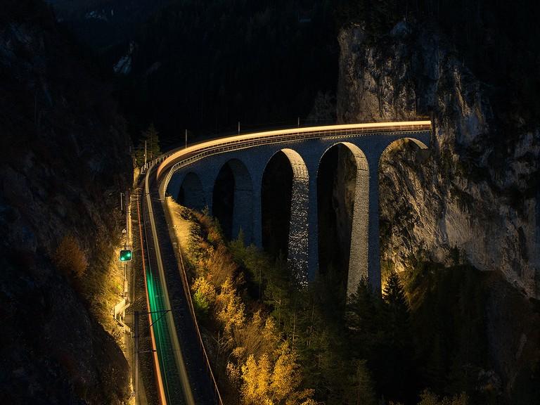 The Landwasser Viaduct by night