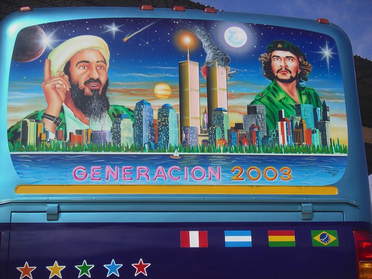 The back of a Bolivian bus