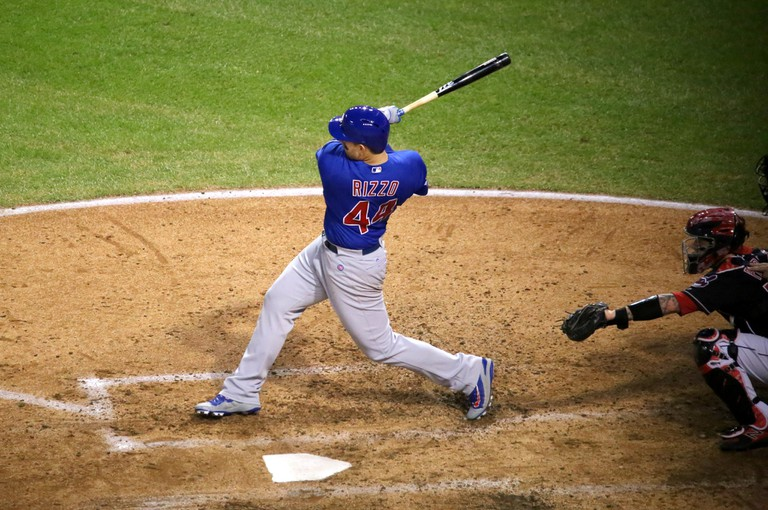 Rizzo swings at a pitch during Game 7 | © Arturo Pardavila III/Flickr
