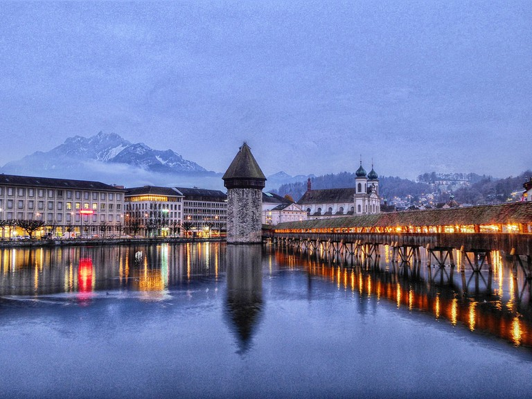 The Kapellbrücke is particularly beautiful in the early morning or evening