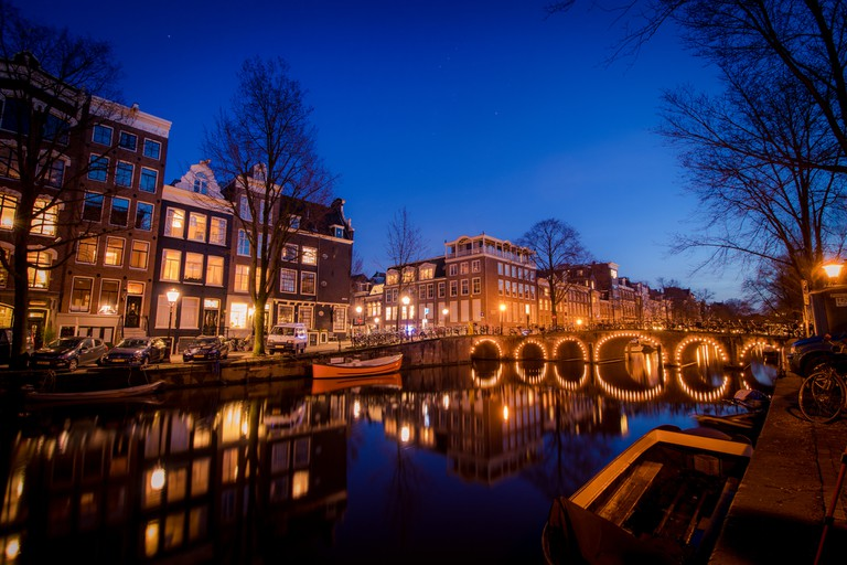 Amsterdam's canal by night