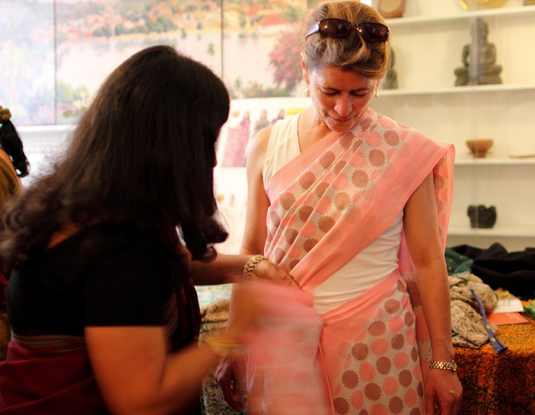 Sari wrapping demonstration at the Embassy of Sri Lanka during Passport DC