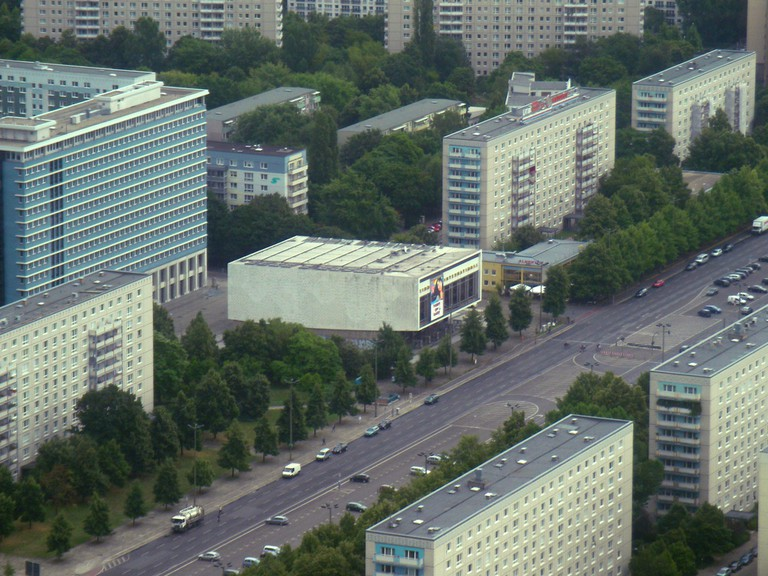Typical Communist architecture of East Berlin, with Kino International seen in the centre