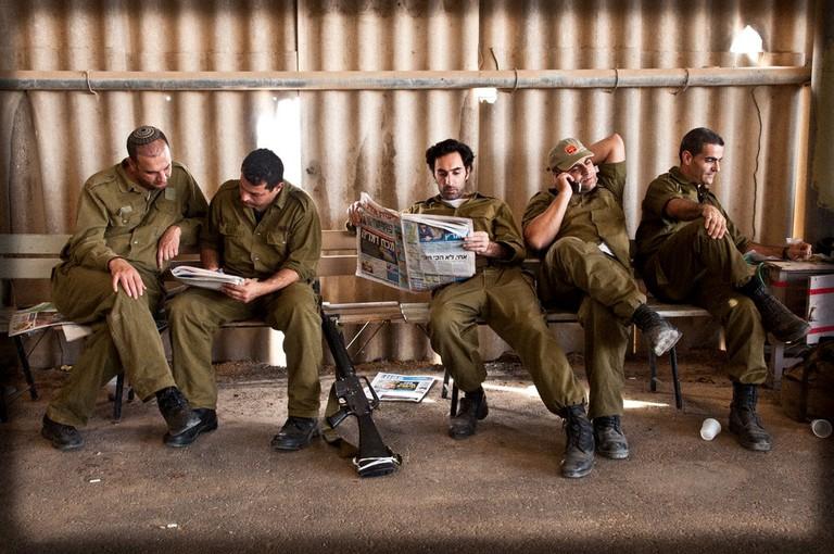Israeli men on reserve duty