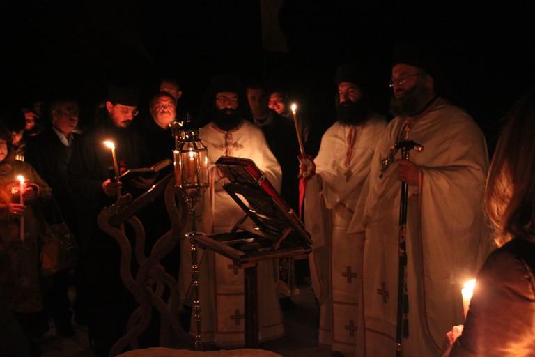 Easter in Santorini: Anastasis (Bright Saturday Night) in Prophet Elias Monastery