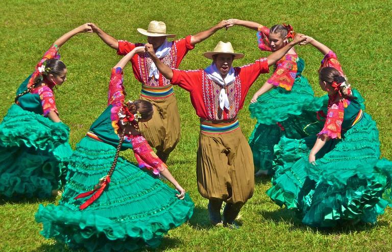 Dancing in traditional Paraguayan costume