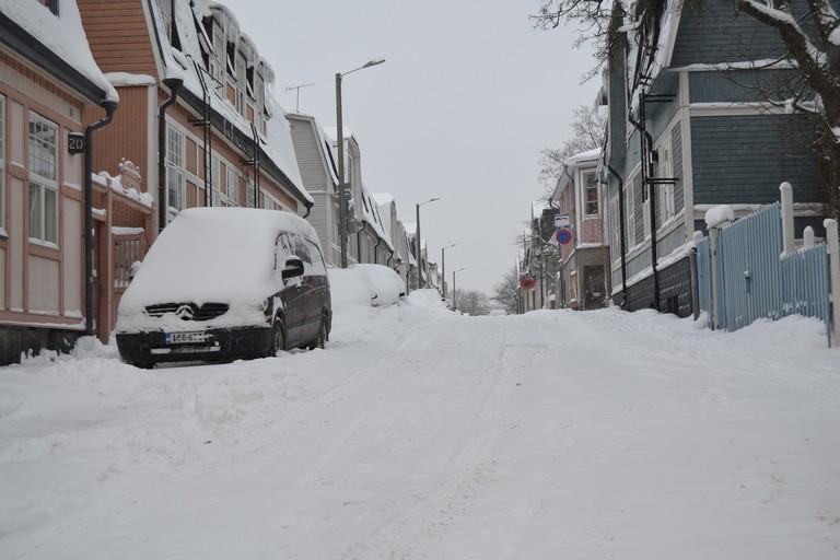 Snow covered street in Vallila/ Hannu Makarainen/ Flickr