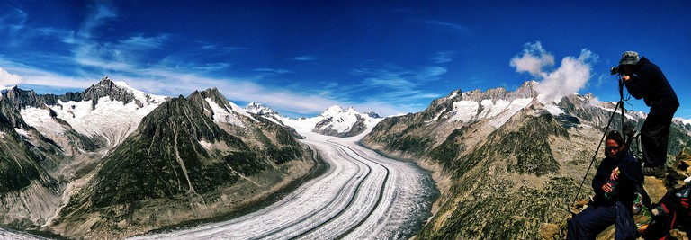 The Aletsch glacier stretches as far as the eye can see