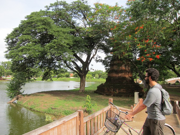 biking the ruins Ayutthaya