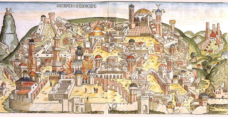 Woodcut of the destruction of Jerusalem by the Chaldeans from the Nuremberg Chronicle