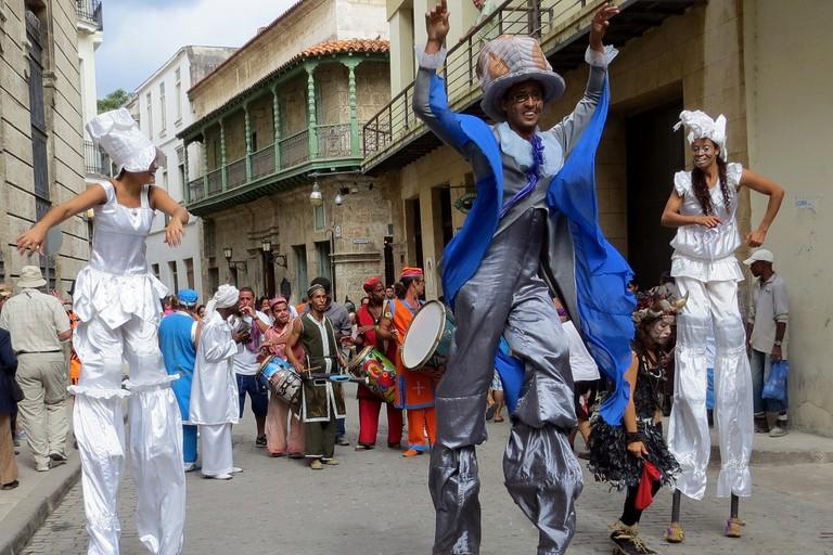 Stilt walkers in Old Havana