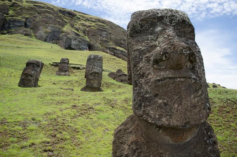 Close-up of Moai head