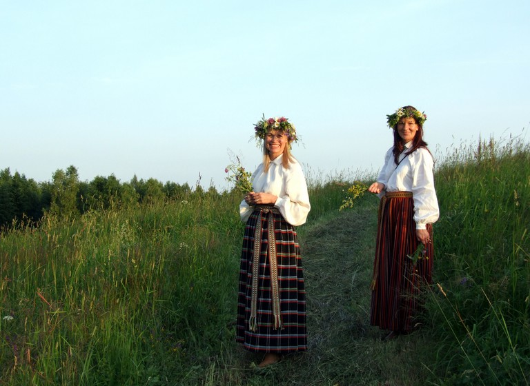Latvian girls in traditional Midsummer dress