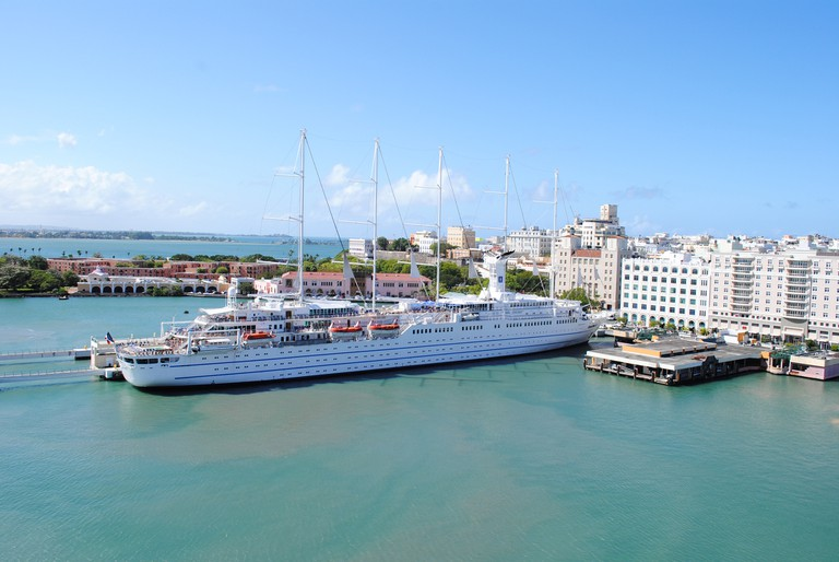 A cruise ship docked in Old San Juan