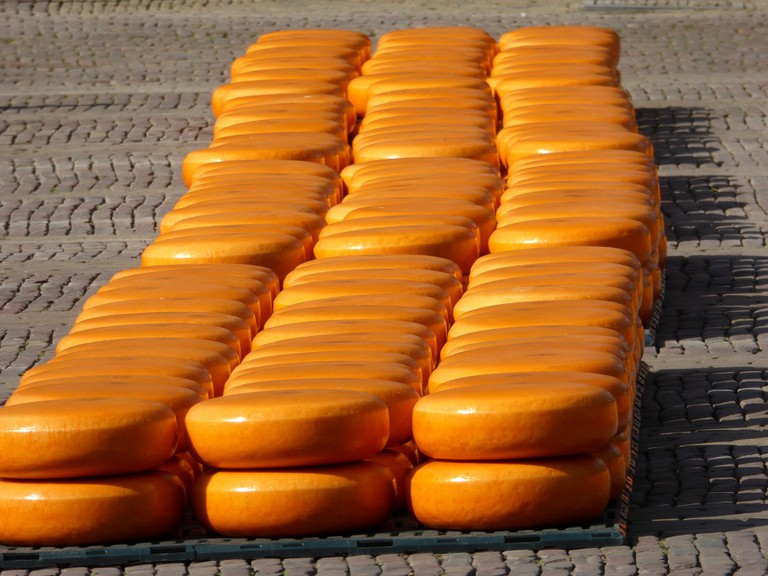 Wheels of gouda at the cheese market