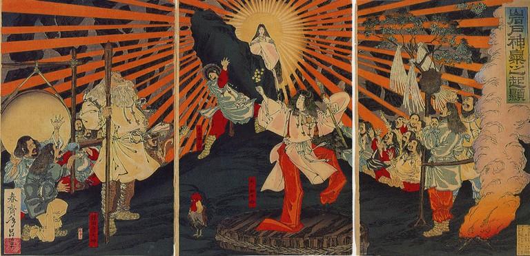 Amaterasu emerging from a cave, by Shunsai Toshimasa (1887)
