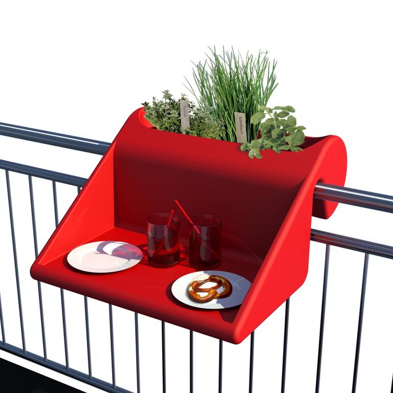 Balkontisch-Pflanzenbehälter-Kombi rot
