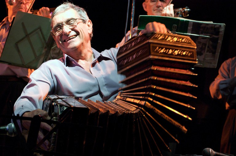 A bandoneón player enjoying the moment