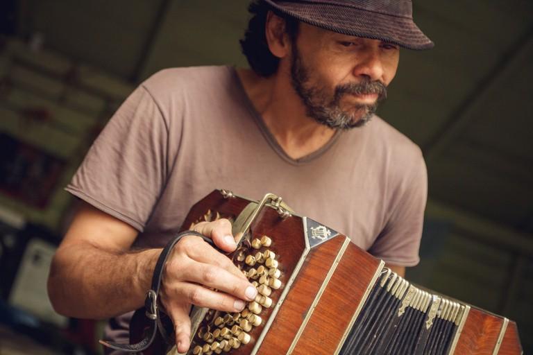 A bandoneón player in La Boca, Buenos AIres