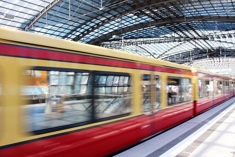The S-Bahn leaving the station