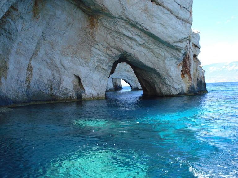 Blue Caves, in Zakynthos, Greece