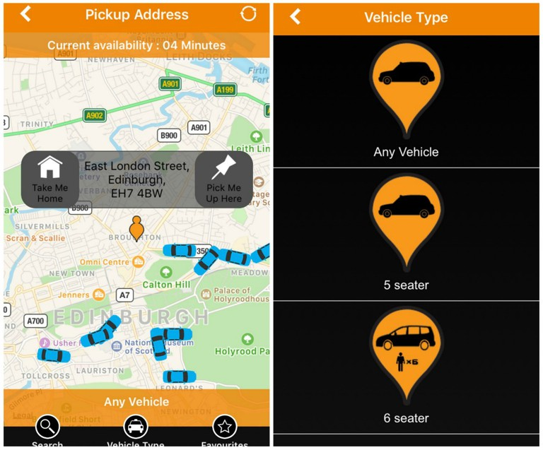City Cabs Edinburgh App Screenshots