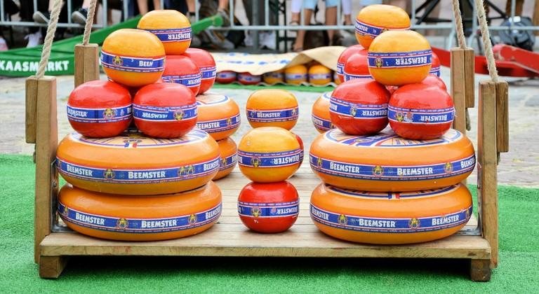Giant wheels of Dutch cheese
