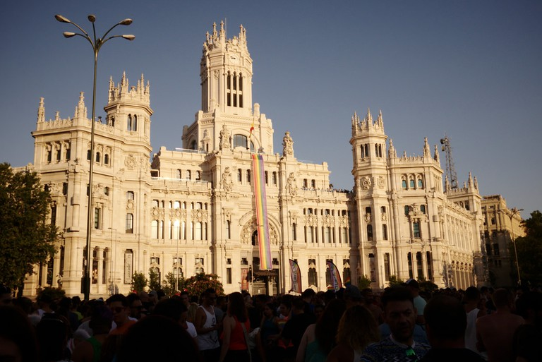 The Cibeles building decorated for World Pride