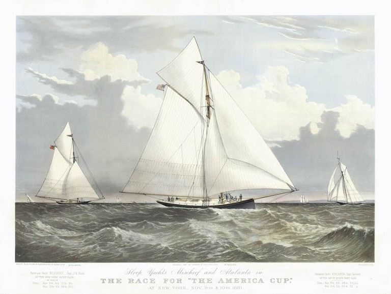 """Currier & Ives, 'Sloop Yachts MISCHIEF and ATLANTA In The Race For """"The America Cup.""""' Courtesy of the Middlebury Museum of Art."""