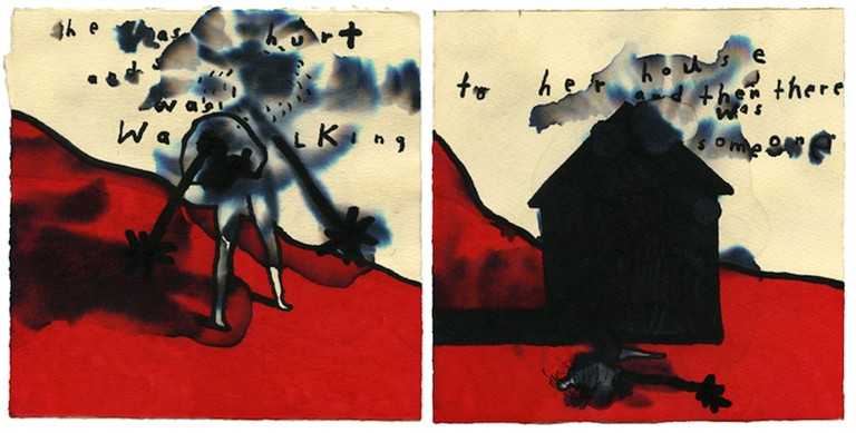 SHE WAS HURT AND WALKING TO HER HOUSE AND THEN THERE WAS SOMEONE - Artwork featured in David Lynch: The Art Life directed by Jon Nguyen. Image courtesy of Janus Films and David Lynch.