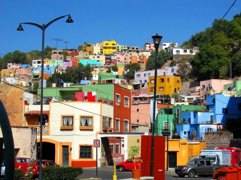Multicoloured houses in Guanajuato, Mexico