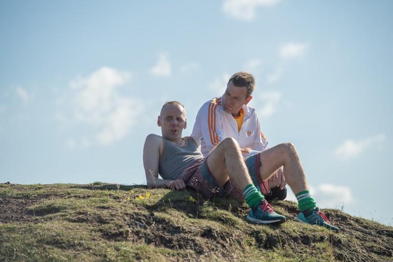 Spud (Ewen Bremner) and Mark Renton (Ewan McGregor) after their run on top of Arthur's Peak