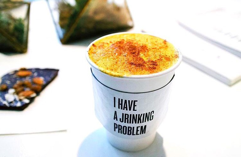 Golden latte with turmeric at Jrink
