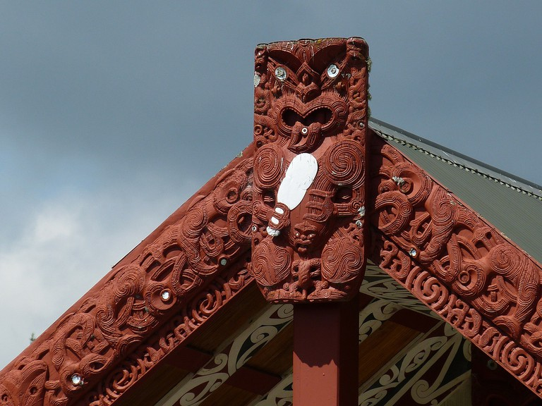 Māori Carvings at a Marae