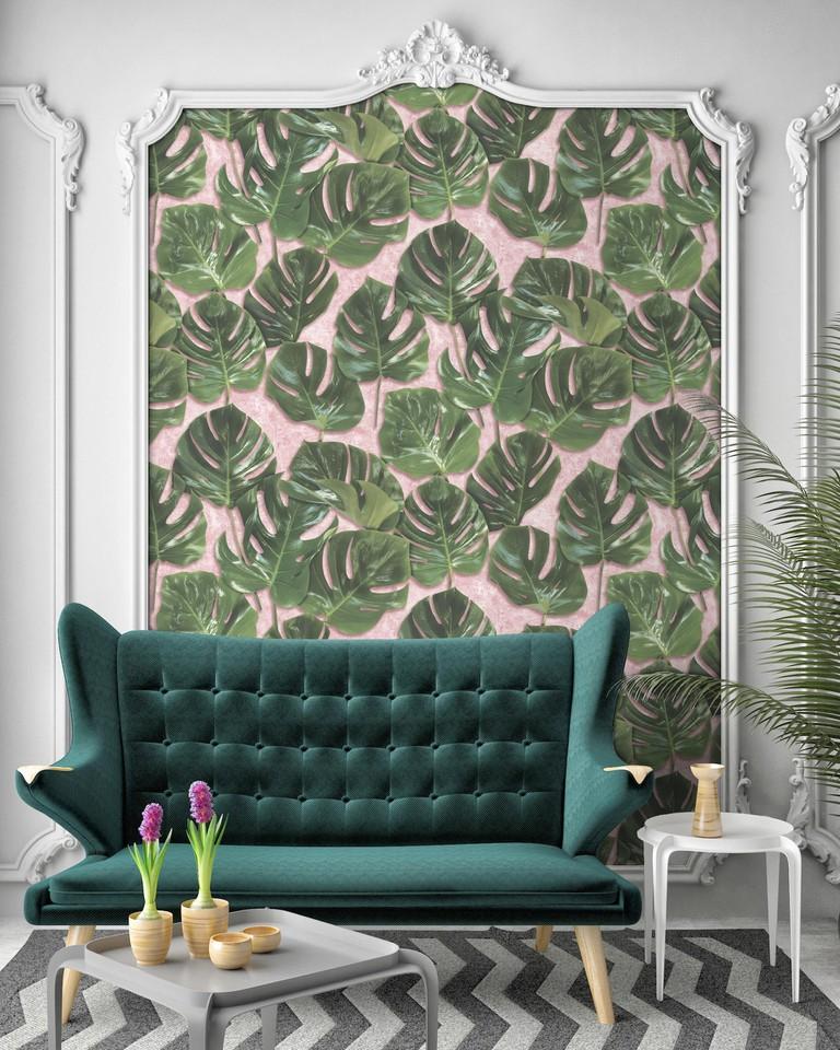 Monstera Leaf Print Wallpaper on Pink Plaster Background