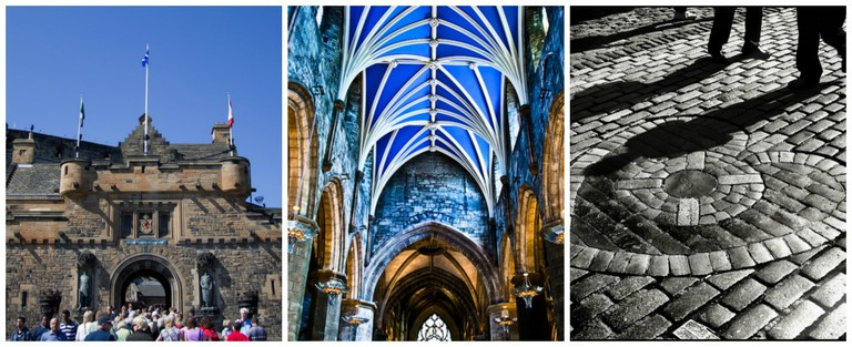 Edinburgh Castle   © Ian Dick/Flickr // St. Giles Cathedral Vaulted Ceiling   © Gary Ullah/Flickr // Heart Of Midlothian   © Neal Fowler/Flickr