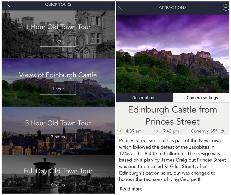 Edinburgh Photo Guide App Screenshots
