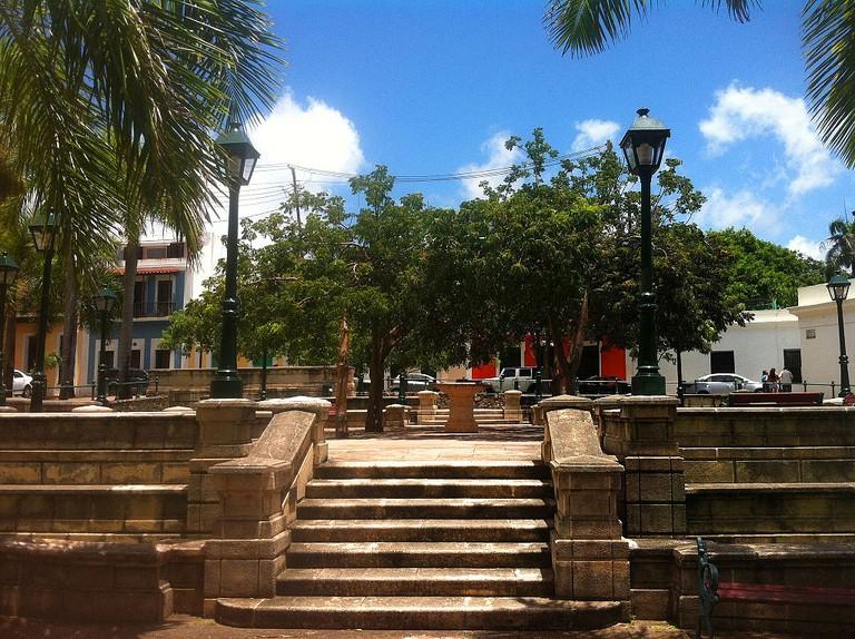 """Directly in front of Plaza de la Dársena and La Casita, is La Plaza de Hostos, named after """"The Citizen of the Americas"""" Eugenio María de Hostos"""