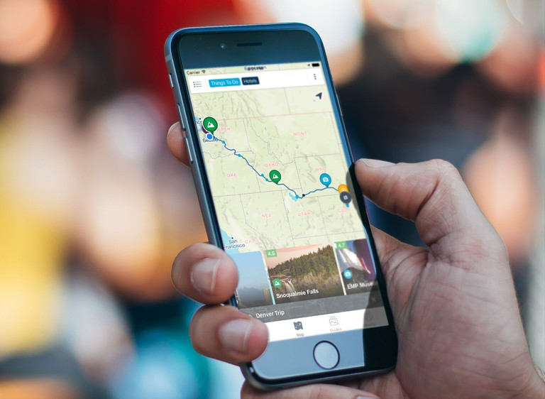 The Roadtrippers app in action