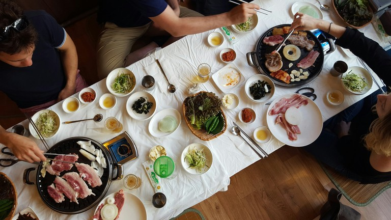 Boseong's speciality cuisine is nokdon samgyeopsal, sliced pork belly made from pigs who have dined on green tea leaves