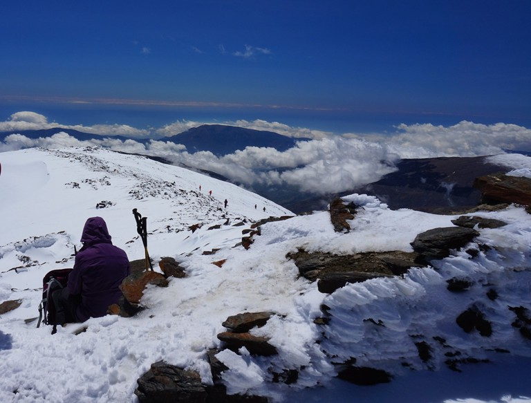 Made it: not for nothing is the summit of Mulhacen known as 'The Roof of Spain'; Encarni Novillo