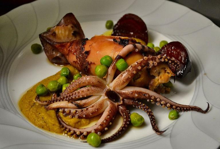 Perlman's rabbit sausage-stuffed calamari