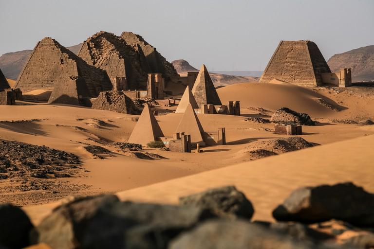 Meroë pyramids in the Sahara Desert, Sudan