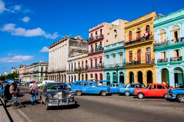 Chevrolet cars are used as taxis on the streets of Old Havana, Havana, Cuba