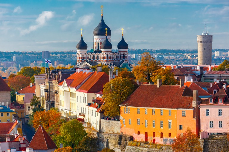 The view over Toompea hill and Russian Orthodox Alexander Nevsky Cathedral